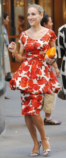 SJP in Sex And The City in a vintage 1980's peplum dress