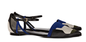 Reiss, Honoree Rich Blue Patchwork Flat Shoe. £139