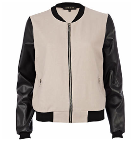 River Island - Beige leather look sleeve bomber jacket, £45