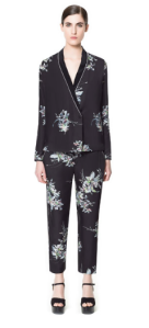 Zara - printed pyjama bottoms, printed silk blouse