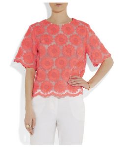 Simone Rocha- Neon embroidered organza T- shirt, £695