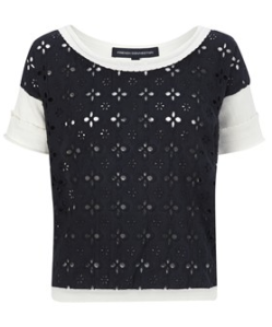 French Connection- Broiderie Anglaise short sleeve top, £72