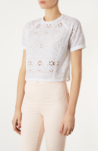 Topshop- Broiderie high neck crop tee, £28