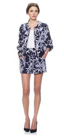 Whistles- Orchid print silk short, £95